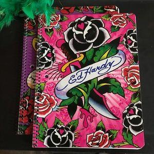 Vintage Lisa Frank Ed Hardy Spiral Notebooks